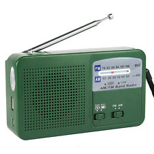 Green FM/AM Radio Dynamo Solar Powered Hand Cranked Flashlight Emergency Charger