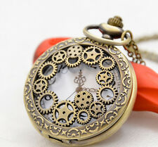Antique Mechanical gear hollow bronze steampunk quartz pocket watch necklace.