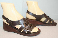 6 M Nos Coffe Brown Leather 3-Strap Vtg 70s New Wedge Heel Hippie Sandal Shoe