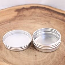 12*Empty Cosmetic Pot Tin Silver Container 1oz Screw lid Jar EPE inserts