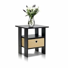Furinno End Table Bedroom Night Stand w/Bin Drawer, Espresso/Brown 11157EX/BR