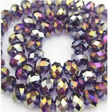 300pcs 3x4mm Purple AB Crystal Abacus Faceted Loose Beads Gem S-04