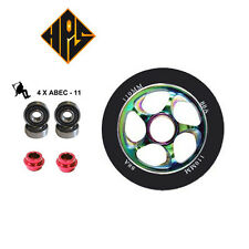 2X PRO STUNT SCOOTER NEO CHROME CYCLONE METAL CORE WHEELS 100mm ABEC 11 BEARING