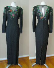 VINTAGE SCALA SILK BEADS SEQUIN LINED EVENING FORMAL DRESS GOWN COCKTAIL WEDDING