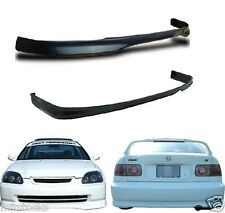 1999-2000 CIVIC 2 4 DOOR TYPE R PU BLACK ADD-ON FRONT + REAR BUMPER LIP SPOILER