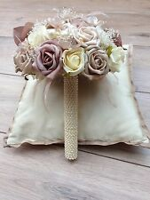 IVORY CREAM MOCHA CHAMPAGNE ROSES PEARLS VINTAGE BRIDES WEDDING POSY BOUQUET