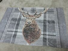 Stag stags head tartan beige grey crafts remnant fabric material piece 70x45cm