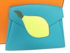 Auth HERMES Swift Chevre Tutti Frutti Citron Harmer Pouch Wallet Unused T113