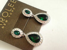 CAROLEE NEW YORK green double drop  CRYSTAL  EARRINGS JOHN LEWIS RRP £35