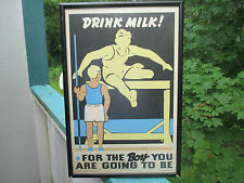 Hurdles running dairy poster vtg art deco boy kitchen Gordon Deacon man cave