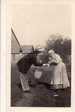 Chore Clothes Farm Woman w/Pail Greets Apron Kerchief Toothless Granny Photo