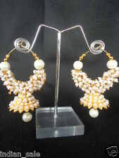 INDIAN ETHNIC WHITE FAUX PEARL BEADS HOOP EARRINGS BALI BEAUTIFUL JHUMKA JHUMKI