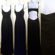 Vintage Retro 90s designer  beaded Tadashi body con open back draped gown dress
