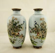 "Pair 8"" Meiji Japanese cloisonne silver wire cockeral vases in manner of Sosuke"