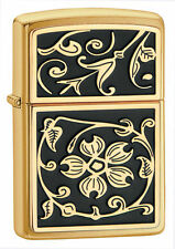 Zippo 20903, Gold Floral Emblem Brushed Brass Finish, Full Size