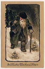 X-Mas SANTA WEIHNACHTSMANN Green/Brown Coat Weihnachten * Vintage 1910s PC Litho