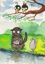 ACEO PRINT of watercolor PAINTING RYTA CROW folk Black Cat Rat MOUSE SPRING BOAT