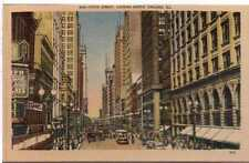 1930 Postcard State Street Buses Trollys Cars GasLight Chicago Illinois Unposted