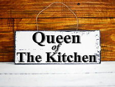 shabby chic Queen of The Kitchen Sign vintage retro style wall plaque