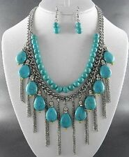 Three Layers Turquoise Stone Bead Silver Tone Chain Dangle Necklace Earring
