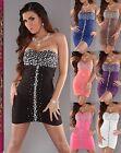 # SEXY SATIN Dress Cocktail KLEID Party MINIKLEID Abendkleid Strass Steinen #