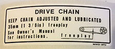 HONDA CB600F HORNET DRIVE CHAIN CAUTION WARNING LABEL DECAL