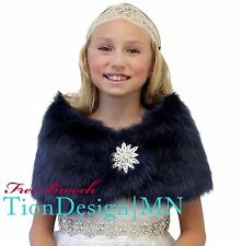 Navy Blue Faux Fur Wrap for Kids, Bridal shrug, wedding stole | Tion Design | MN