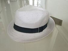 NEW ZARA KIDS LIGHTWEIGHT SUMMER WOVEN HAT-WHITE WITH DENIM RIBBON-SMALL