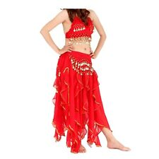Sexy Belly Dance Costume Set 2 Pics Handmade Top/Bra & Skirt Gold Coins 6 Colors