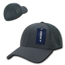 Charcoal Gray Flex Low Crown Cotton Mesh Baseball Ball Golf Fit Fitted Hat Cap