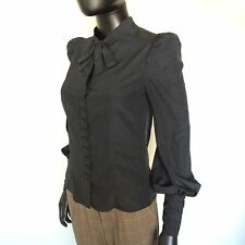 TOM FORD WOMENS UNIFORM SHIRT SIZE SMALL VICTORIAN LONG SLEEVE BLOUSE 36 BLACK S