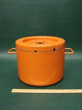 Vintage Copco Michael Lax Switzerland Orange Enamelware Deep Fryer Pot w/ Lid