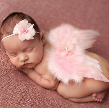 Newborn Baby Girl Clothes Headband+Feather Wing Photography Props Outfit Set