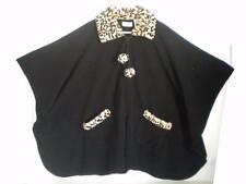 Womens Le Moda One Size Black Fleece Cape Faux Fur Leopard Trim Poncho LeModa