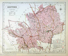 HERTFORDSHIRE - Original Antique County Map - LETTS, 1884 - suitable for framing