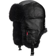 Authentic Supreme Black Leather Trooper Hat Bomber bogo box logo ORDER CONFIRMED
