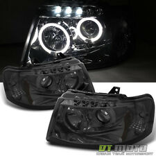 Smoked 2003-2006 Ford Expedition LED Halo Projector Headlights Lamps Left+Right