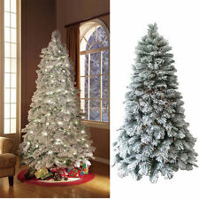 Flocked Christmas Pine Tree 8Ft Pre Lit 500 Lights Artificial Holiday White Snow