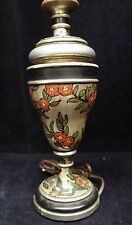 "Arts + Crafts Hand Painted Floral Lamp Solid Wood 26"" Light Table Accent Ships"
