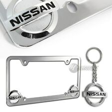 Nissan logo 3D Die Cast Chrome Metal License Plate Frame with Nissan Keychain