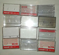 12 empty plastic assorted CASSETTE TAPE cases