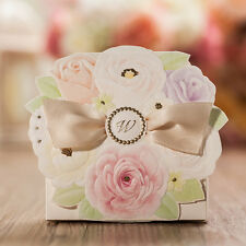 50pcs Dimensional Flower with Ribbon Bridal Shower Gift Wedding Favor Candy Box