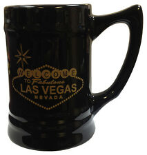 NEW Black Ceramic Beer Mug with Las Vegas Sign in Gold Color FREE SHIPPING *