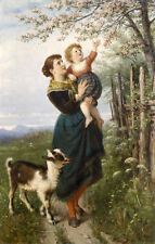 Perfect Oil painting nice young mother with baby and Lamb in sunset spring 36""