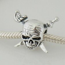 Caribbean PIRATES-Skull&Swords- Jolly Roger-Solid 925 sterling silver charm bead