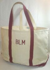 VINTAGE  L.L.  BEAN BOAT AND TOTE BAG FREEPORT MAINE NATURAL/RED LARGE