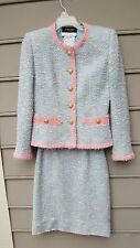 RICHARD CARRIERE Women's Green & Pink Tweed Skirt Suit Size 8 Made in FRANCE