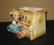 Vintage Relpo Little Girl Playing the Piano Planter #6011