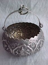 Vintage Indian / Burmese Silver Bowl with Swing Handle.