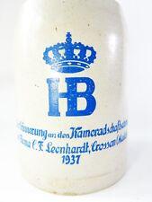 alter Bierkrug HB Kameradschaftstreffen Firma C.F. Leonhardt Crossen /Mulde 1937
